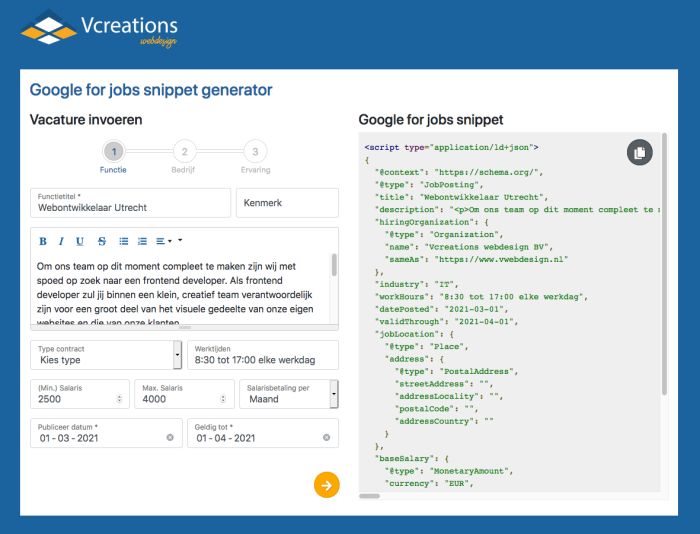 Vacatures in Google for jobs snippet generator