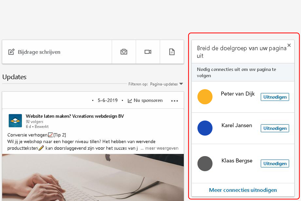 Persoonlijke connecties uitnodigen op LinkedIn