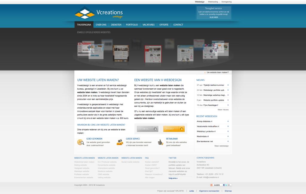 Onze website uit 2012