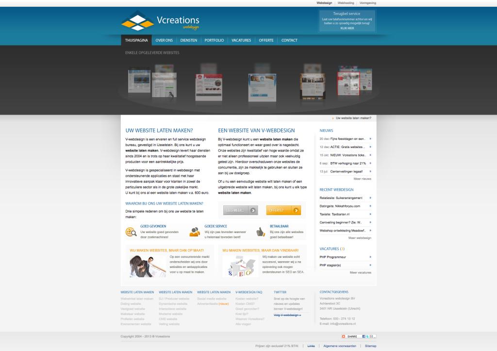 Onze website uit 2013
