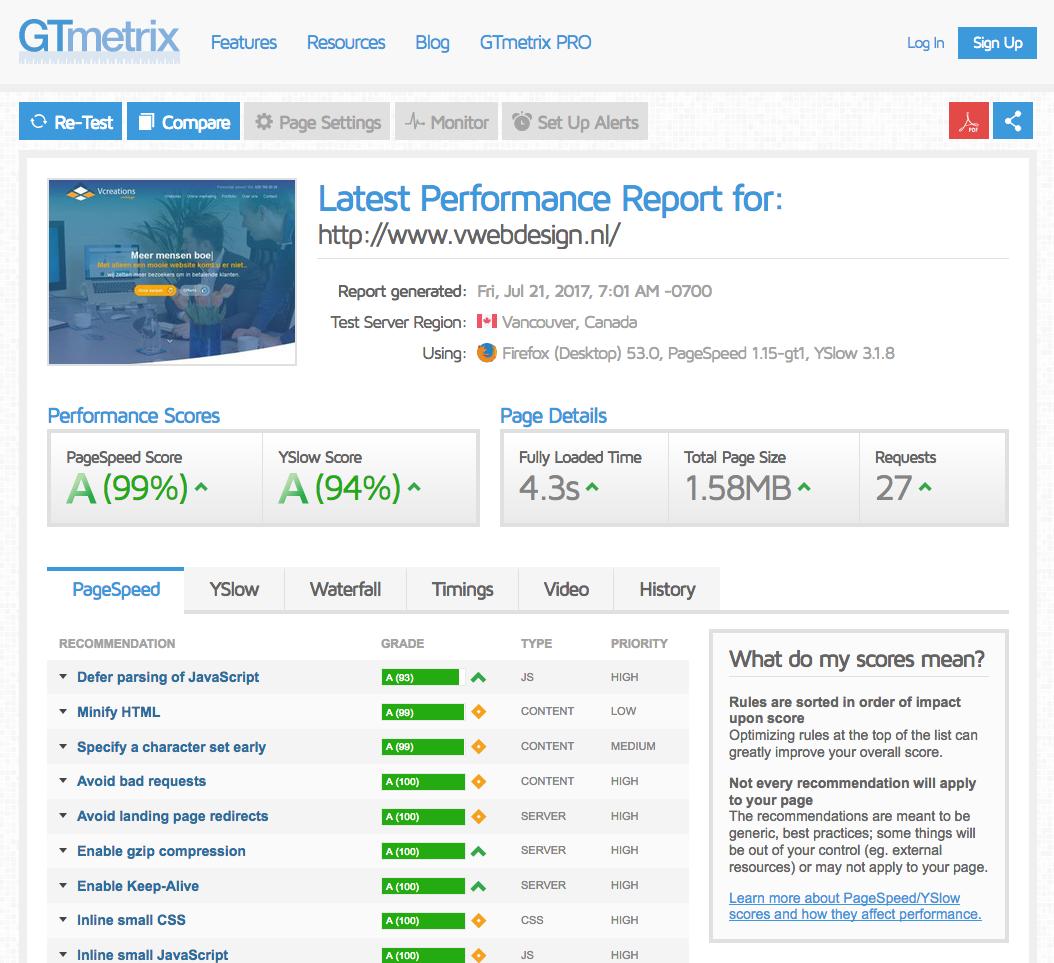 Snelheid van website testen GTmetrix