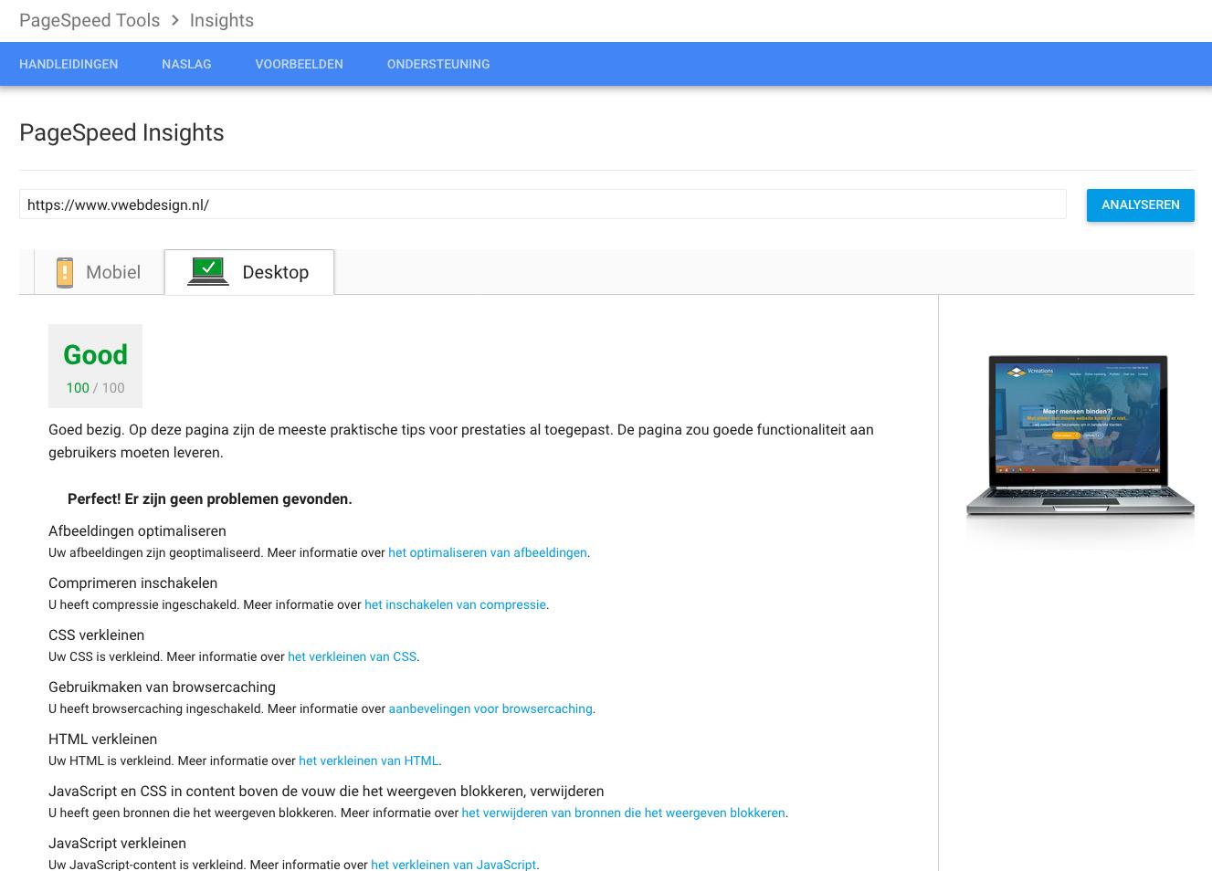 Snelheid van website testen Pagespeed